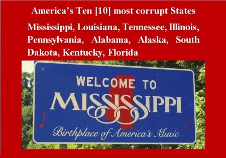 AMERICA - 1 - TEN MOST CORRUPT STATES