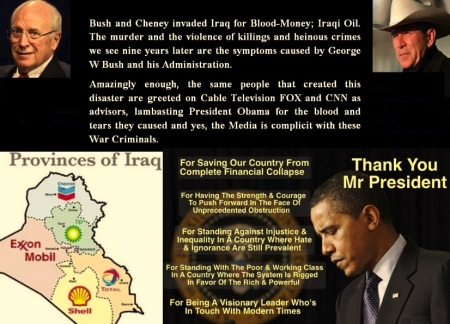 AMERICA - BUSH - CHENEY BLOOD OIL MONEY AUG 11 14