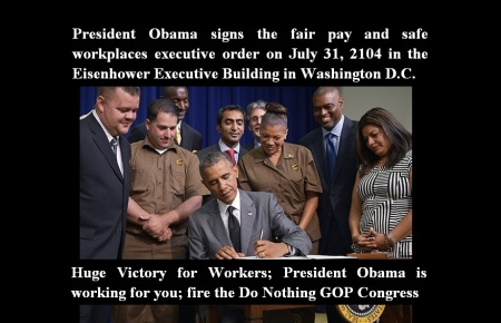 AMERICA - OBAMA SIGNS FAIR PAY SAFE WORKPLACES EXEC ORDER