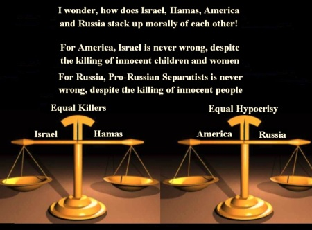 ISRAEL- HAMAS - USA- RUSSIA SCALE OF JUSTICE -E