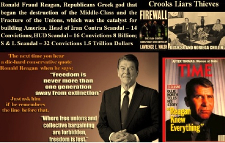 RONALD FRAUD REAGAN - GEORGE H W BUSH - CROOKS - LIARS - THIEVES