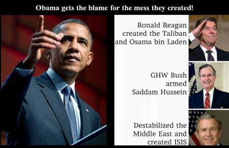BARACK OBAMA 3- GOP PRESIDENTS