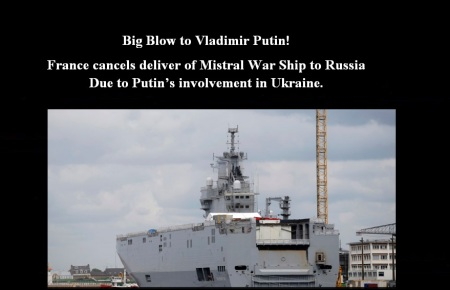 FRANCE  CANCEL WAR SHIP TO RUSSIA