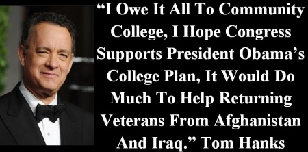 TOM HANKS - SUPPORTS OBAMA COLLEGE PLAN