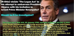 JOHN BOEHNER LOGAN ACT VIOLAION